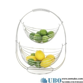 Chrome Plated Metal Swing Fruit Basket